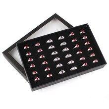 Brincos jóias display titular organizador prático mostrar caso janela transparente pvc 36 slots anel caixa bandeja caso de armazenamento