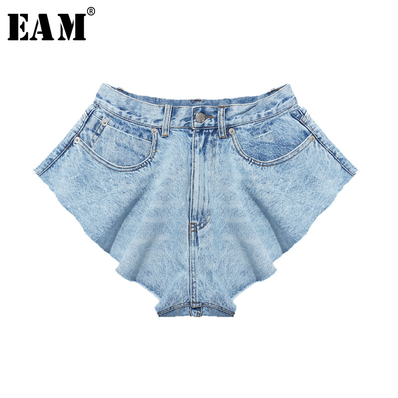 [EAM] Women Blue Denim Ruffles Cut Style Wide Leg Shorts New High Waist Loose Fit  Trousers Fashion Spring Summer 2020 1S770