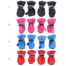 4pcs Winter Pet Dog Waterproof Shoes Anti-slip Rain Snow Boots Footwear Thick Warm For Small Cats Dogs Socks Booties For Pup(China)