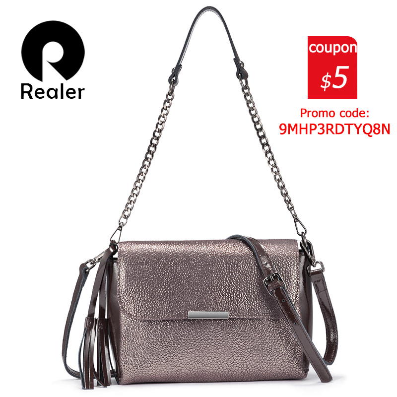 REALER Genuine Leather Crossbody Bags For Women Handbags Female Shoulder Messenger Bags Small Totes High Quality Top-handle Bag