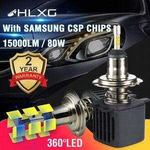 Image 1 - HLXG 2 шт 4 стороны лампочки H4 H7 светодиодный автомобильные комплект лед лампа 10000LM CSP чипы H8 H11 9006 HB4 9005 HB3 светодиодный авто светодиодные лед лампы н7 н4 led светодиодная фара