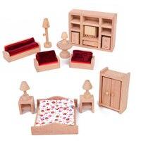 New Arrival Mini Household Set Wooden Furniture For Doll House Decoration Doll House Furniture Diy Miniature