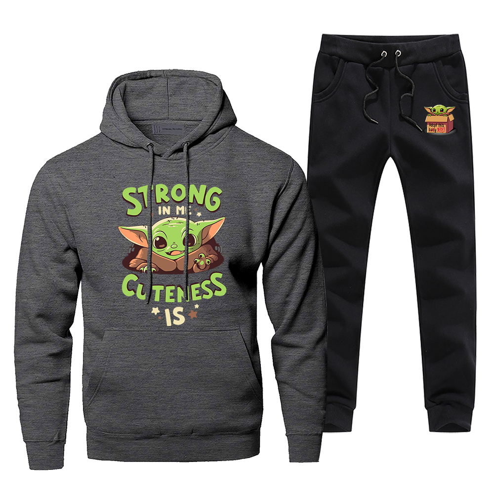 Star Wars Baby Yoda Men's Sportswear Sets Cute Young Yoda Tracksuit 2 Piece Sweatpants Set The Mandalorian 2020 Spring Men Suits