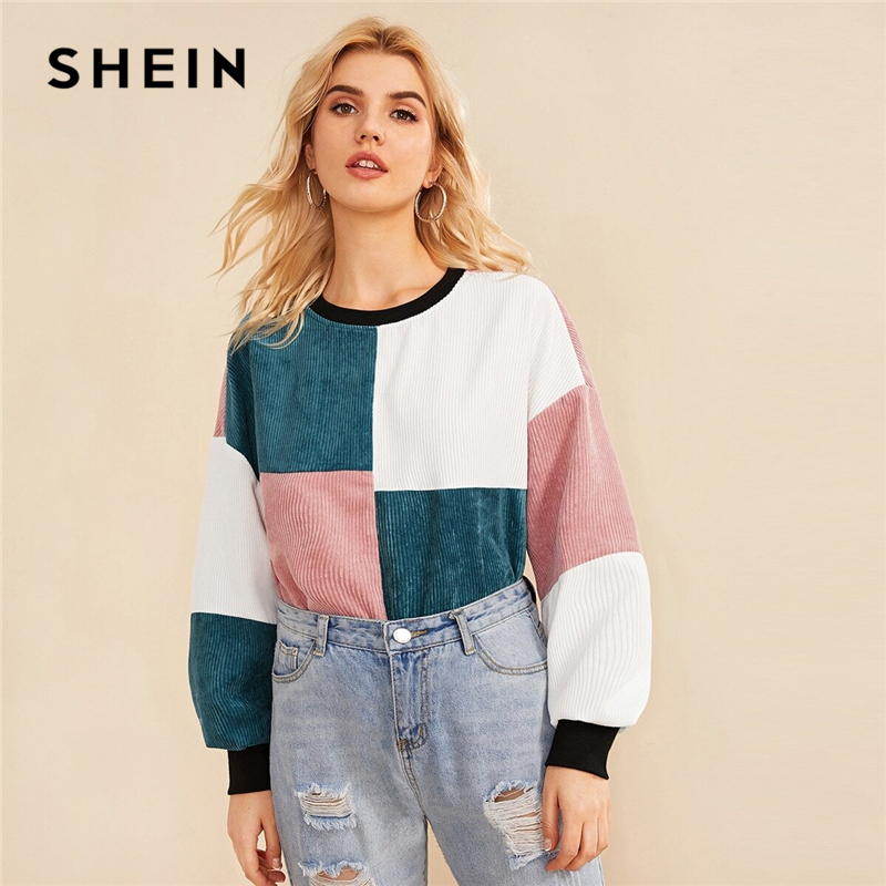 SHEIN Contrast Neck And Cuff Colorblock Sweatshirt Women Pullover 2019 Autumn Cut And Sew Winter Casual Corduroy Sweatshirts