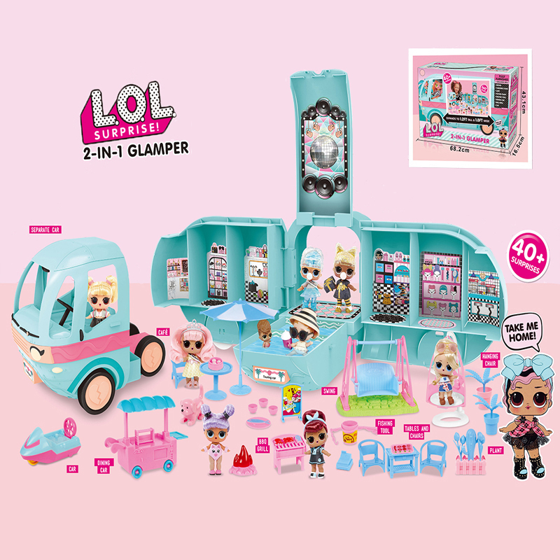 Original LOL Surprise Dolls Fashion DIY GLAMPER 2-in-1 Bus Detachable Toy Lol Doll Play House Toys For Girls Birthday Gifts