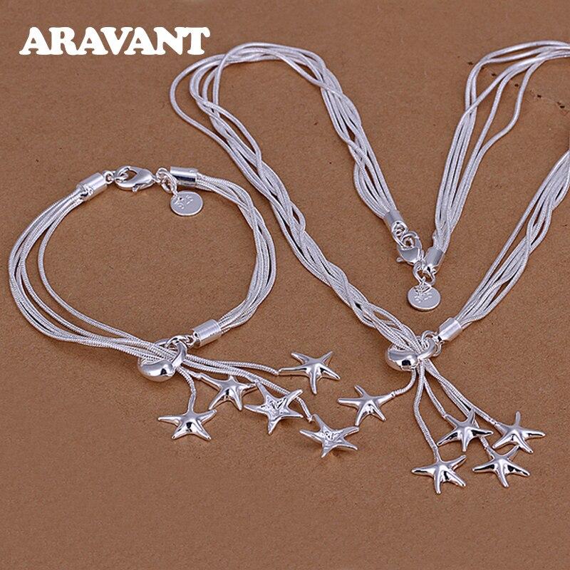 925 ensembles de bijoux en argent étoile de mer collier Bracelet ensemble de bijoux de mariage pour les femmes