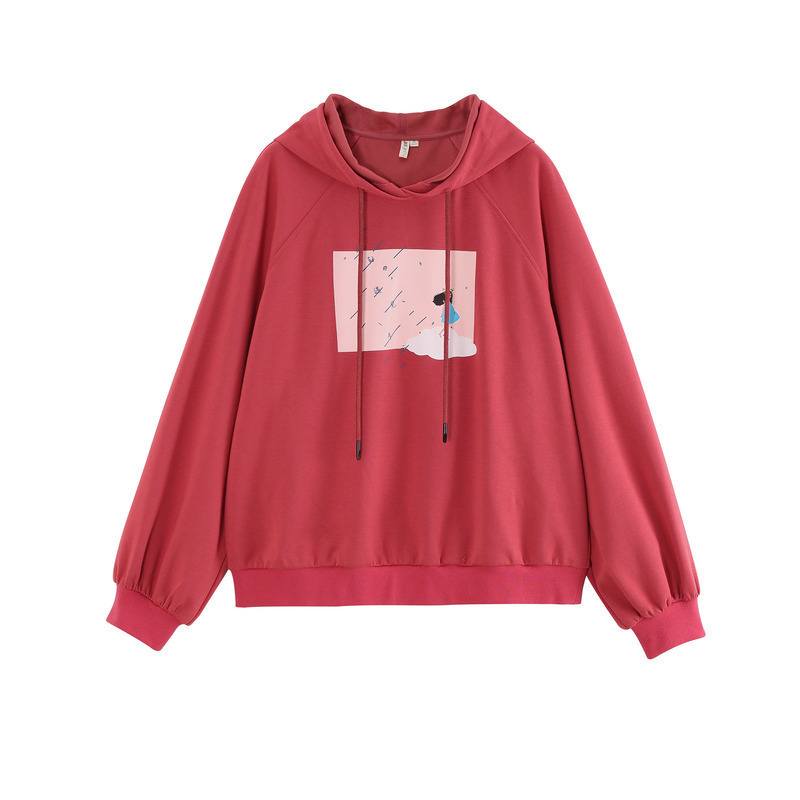 INMAN Spring Autumn Hooded Drawstring Young Age Reducing Artistic Fashion Print Loose Causal Style Sport Sweatshirt