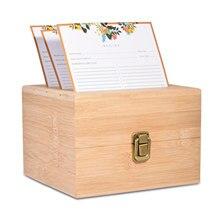 Caja de madera con ranuras para guardar tarjetas, estuche de madera de bambú, práctico, Retro, 50 Uds.