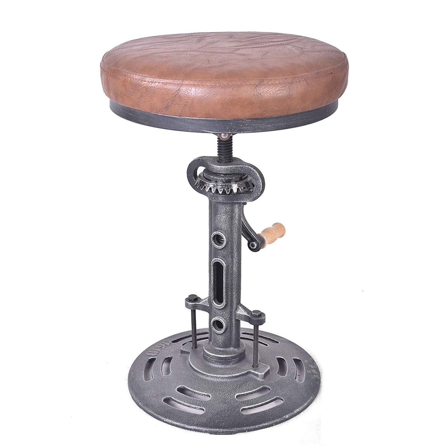 Vintage Industrial Bar Stools DIY Crank Handle Cafe Chair Leather Seat Swivel Height Adjustable Bar Chairs Kitchen Stool