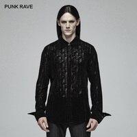 PUNK RAVE Men's Gothic Lace Flocking Transparent Retro Victorian Steampunk Fashion Casual Men Shirts Visual Kei