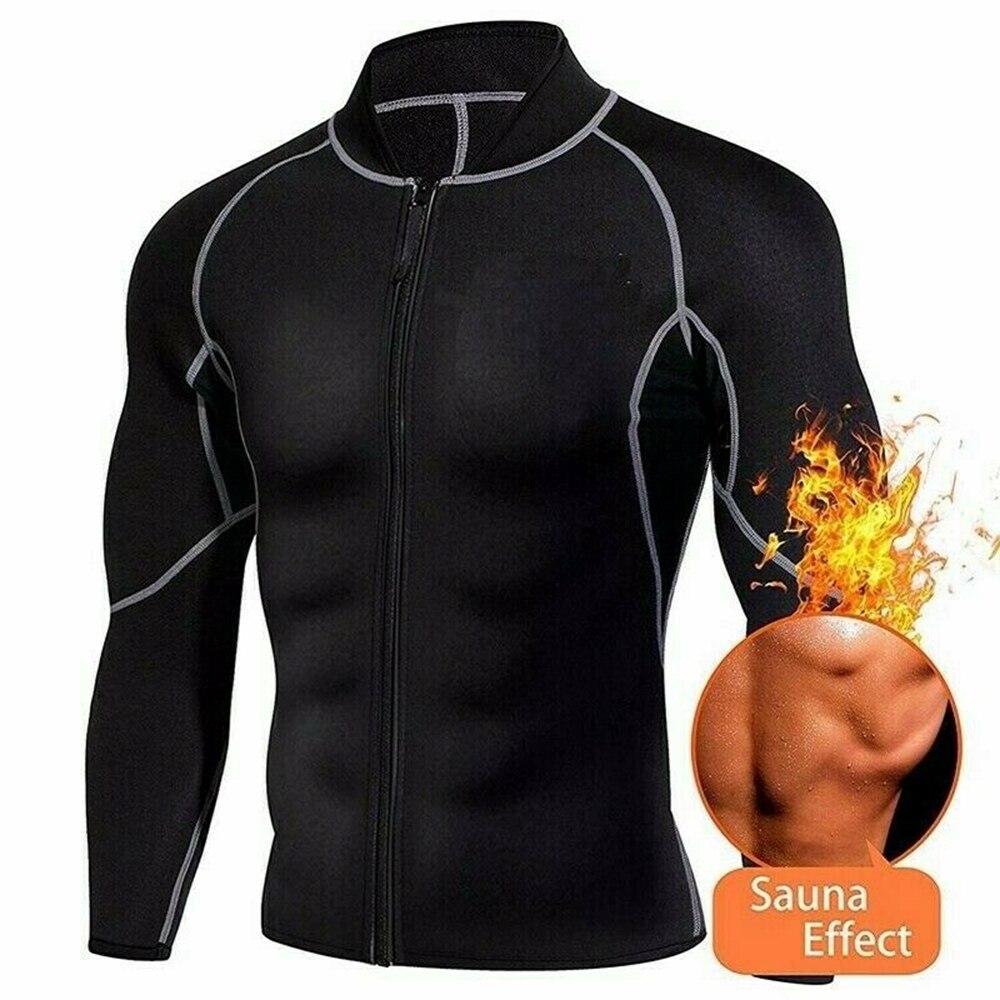 Bodyshaper Long Sleeve Coat Men Fashion Gym Neoprene Sauna Tank Top Waist Trainer Body Shaper Slimming Suit Zipper Vest Durable