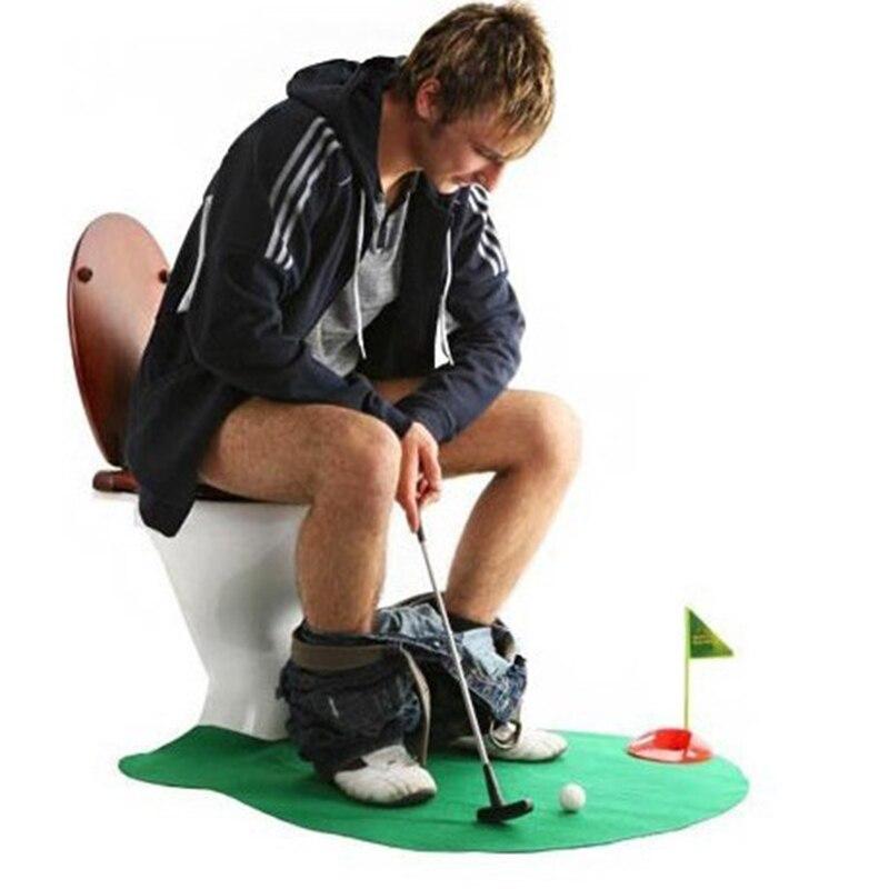 Toilet Golf Putter Set Mini Golf Putting Novelty Set Potty Putter BathMat ToiletGame Entertainment Sport Toy 0947