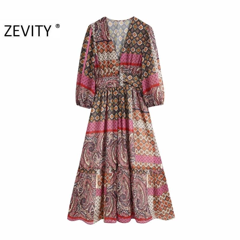 Zevity New women vintage v neck contrast color patchwork paisley print slim midi dress chic female vestidos party dresses DS4172
