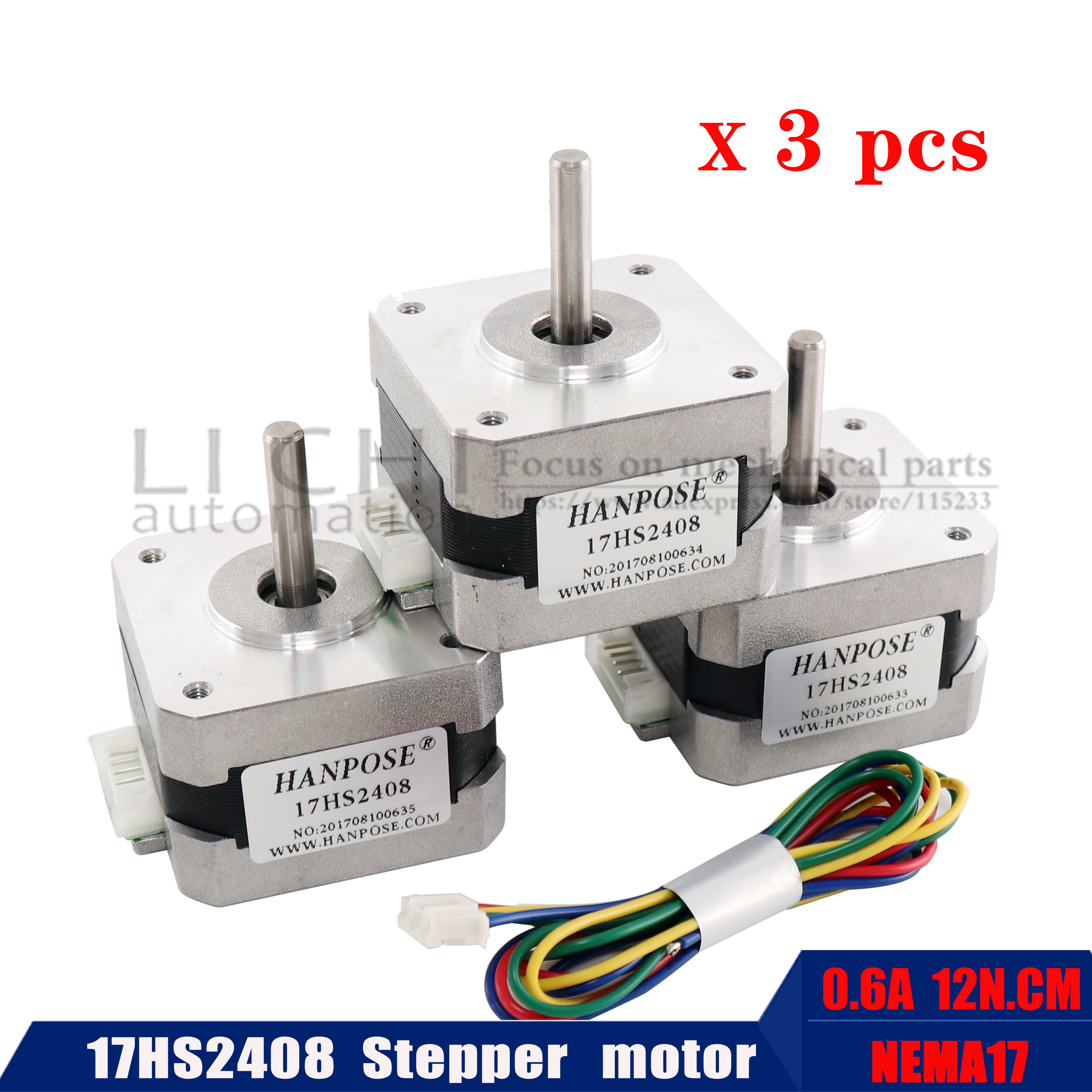 Best price and quality 3pcs / batch 17hs2408 4-wire NEMA 17 stepping motor 42 motor 0.6A 3D printer CNC