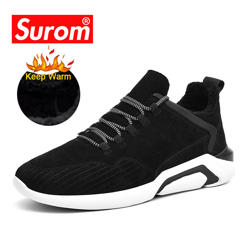 SUROM Brand Quality Pig Leather Winter Casual Shoes Men Outdoor Keep Warm Fashion Sneakers Man Soft Comfort Low Male Shoes Adult