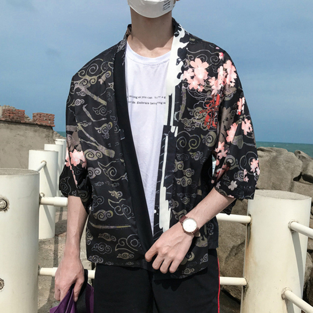 Vacation Style Breathable Thin Sun Protection Blouse Man Cardigan Kimono Japanese Retro Sleeve Chinese Style Dragon Shirt