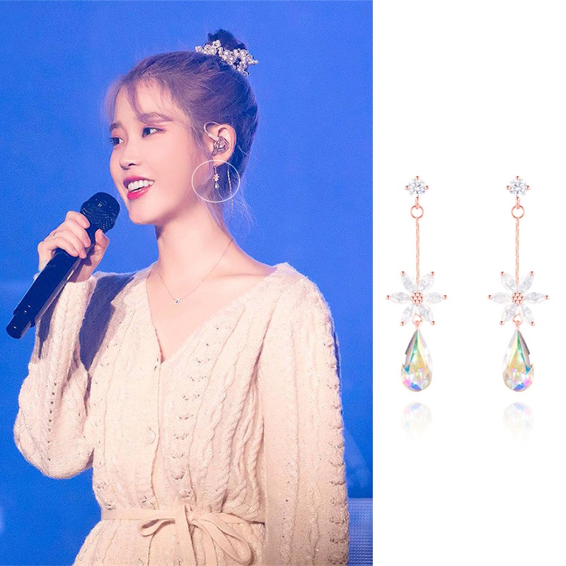 MENGJIQIAO Korean TV Star Cute Delicate Flower Zircon DropEarrings For Women Waterdrop Crystal Pendientes Mujer Moda Jewelry