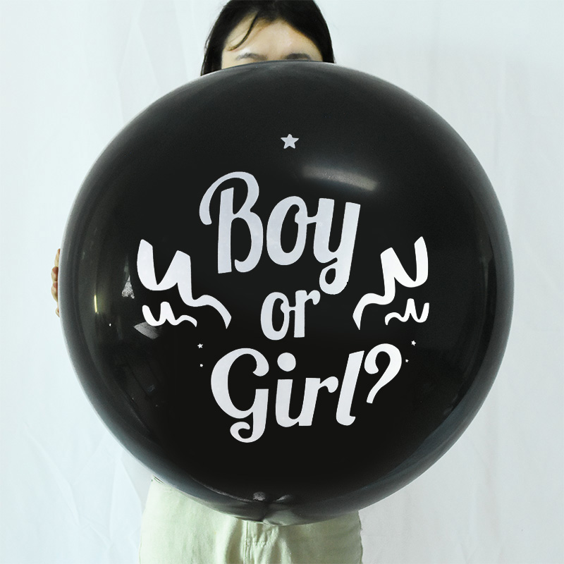 1pc 36inch Boy or Girl Balloon Black Latex Ballon with Confetti Gender Reveal Globos Baby Shower Gender Reveal Party Decoration