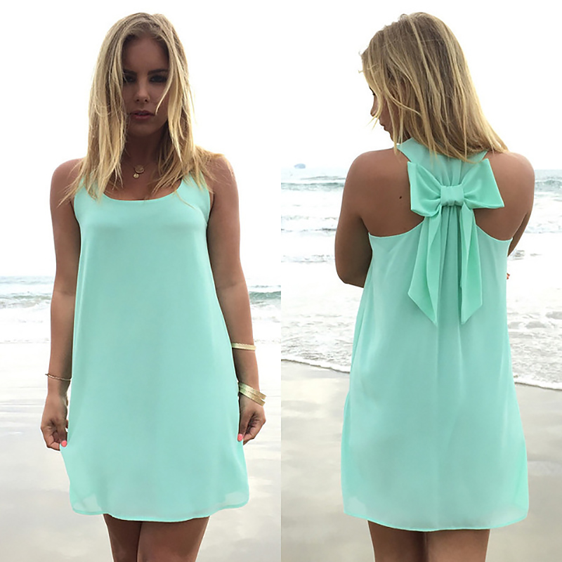 Summer Dress 2020 Fashion Bow Casual Women Sundress  Solid Color  Beach Dress Chiffon Dress Women Clothes Vestidos Plus Size