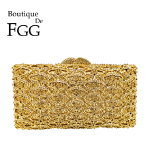 Boutique De FGG Hollow OUTผู้หญิงทองเย็นกระเป๋าคลัทช์คริสตัลกระเป๋าถือและกระเป๋าถืองานแต่งงานสำหรับเด็กผู้หญิงMinaudiereกระเป๋า