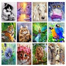 5d diy diamante paisagem cheia animais pintura kits de ponto cruz diamante mosaico arte bordado pintura redonda decoração para casa