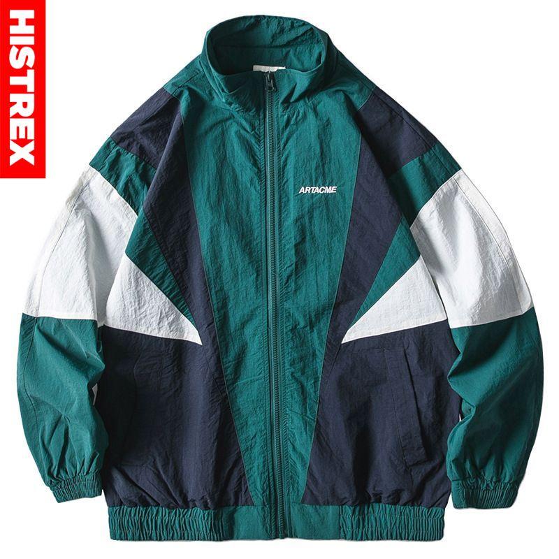 2020 Men Hip Hop Jacket Windbreaker Retro Streetwear Color Block Patchwork Jackets Coat Autumn Harajuku Zip Track Jacket Casual