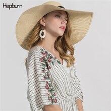 Hepburn brand Fashion sun hat Cute children hats hand made women straw cap beach big brim casual summer