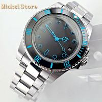 Bliger 40mm men's top business watch silver case domed crystal black sterile dial date ceramic bezel automatic mens watch