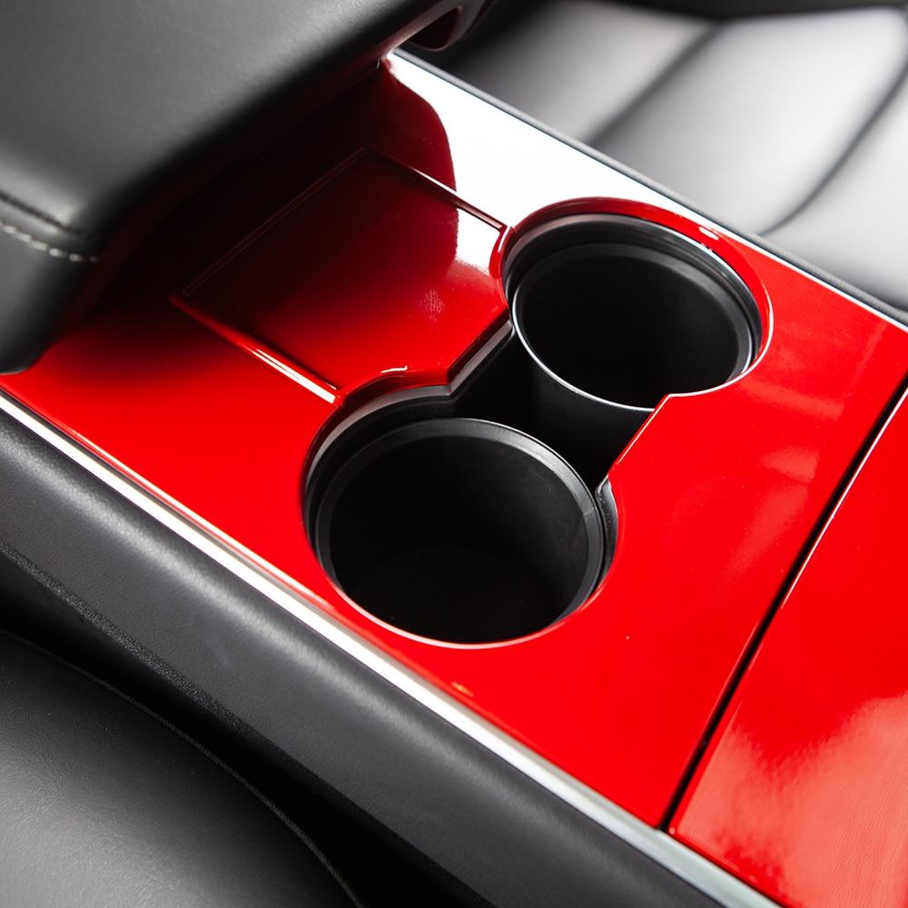 4pcs/set For Car Central Control Panel Protective Patch For Tesla Model 3 Accessories 2017-2020 ABS Carbon Fiber Black Model3