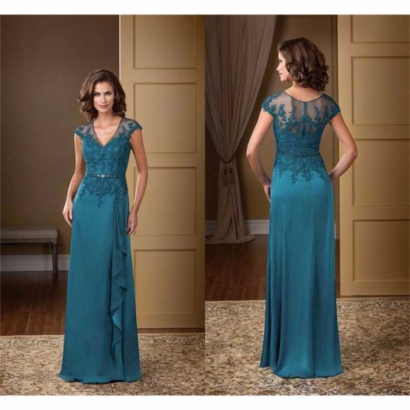 Elegant V Neck Cap Sleeve Mother Of The Bride Dresses Chiffon Appliques Mother Gown Plus Size 2019