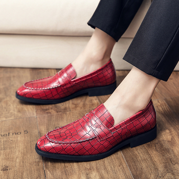 Fashion Gingham Men Shoes Plus Size 38-48 Slip On Leather Male Wedding Shoes Round Toe Low Heel Oxfords pointed metal toe low top hommes chaussures leather slip on loafers heel masculino gold metal decor men shoes leisure male shoes