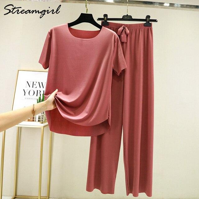 Summer Ice Silk Pants Sets Women Loose T Shirt 2 Piece Wide Leg Pants Woman Soft Ice Silk Pant Suits Summer Sets Womens 2021 1