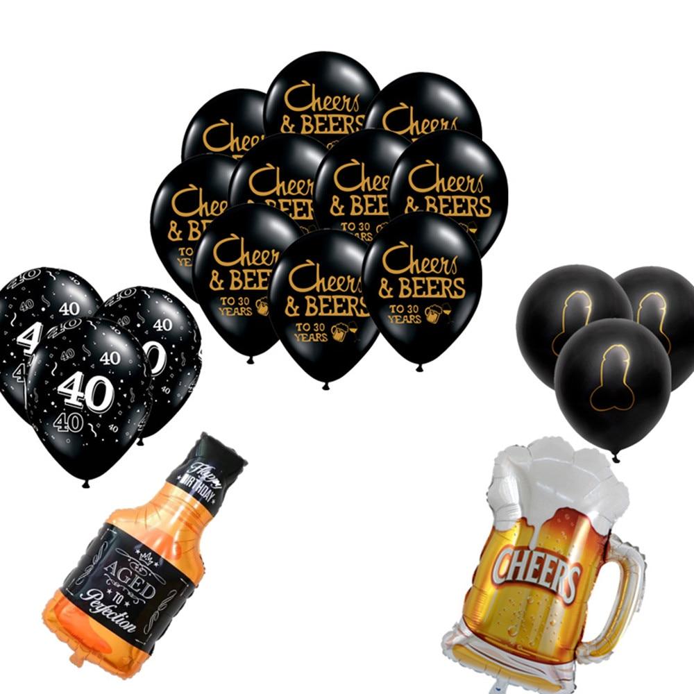 Латексные воздушные шары для празднования дня рождения, вечерние воздушные шары для бакалавра, 1 комплект, 10 дюймов, для 21, 30, 40, 50 лет