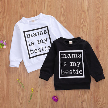 Jersey de bebé niño, mama is my bestie estampado de letras acanalado cierre clásico cuello redondo ropa de otoño 0-24 meses