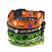 Ошейник для питомца собаки Хэллоуин тыква летучая мышь узор ошейник собаки фестиваль шеи орнамент пряжка для ремня безопасности шейный ремень с поводком кольцо