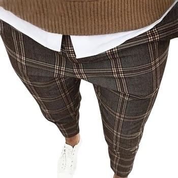 Quality Men's Slim Plaid Casual Pants Fashion Boutique Woolen Puit Men's Business Office Trousers Social Male Pants