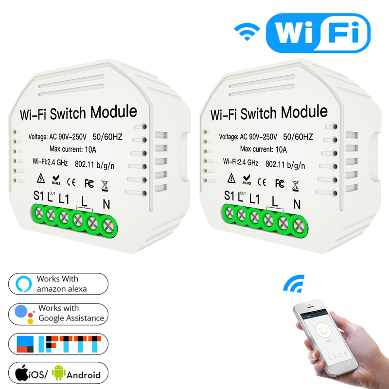 MiNi Wifi Smart Light Switch Diy Smart Life Switch Module Tuya APP Remote Control, Works With Alexa Echo Google Home 1 2 Way