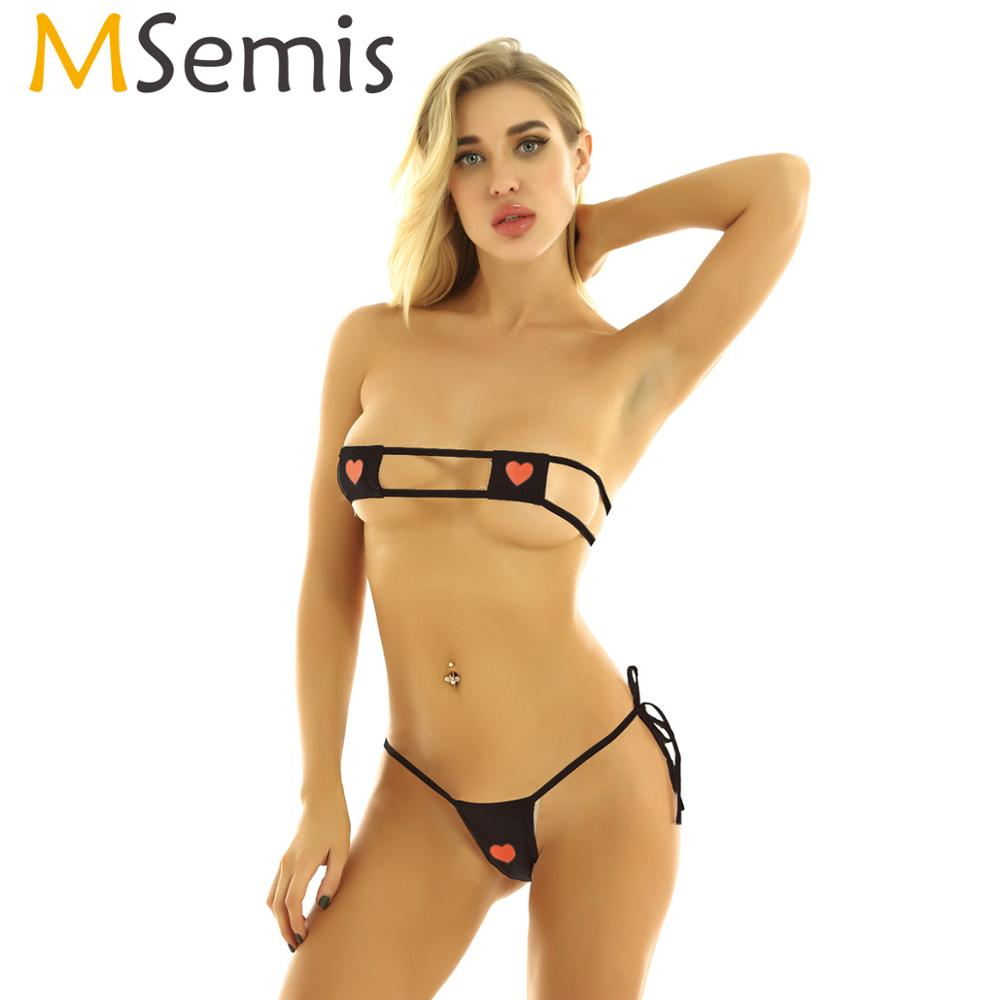 MSemis Swimwear Women Kawaii Style Anime Cosplay Lingerie Set  Sexy Bikini Micro G-String Striped Heart Embroidered Square Bra