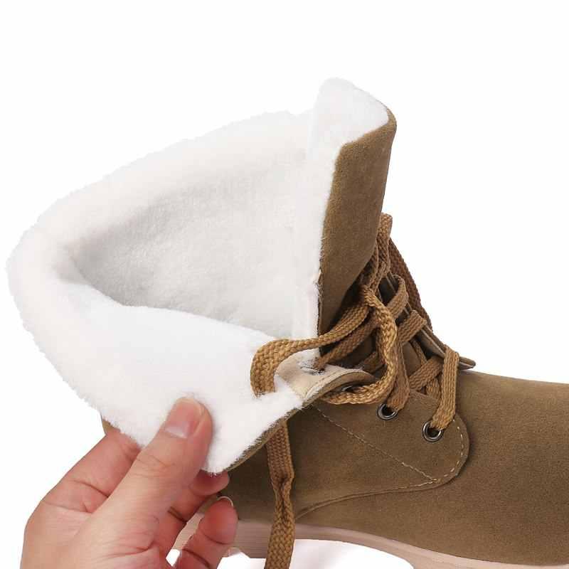 ASUMER 2020 Yeni varış kar botları kadın dantel up kız kürk rahat kışlık botlar bayanlar yarım çizmeler pamuk Ebeveyn-çocuk çocuk ayakkabıları