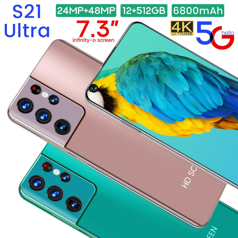 Samxung s21ultra 7.3-inch telefone 12gb + 512gb telefone inteligente versão global android 10.0 4g/5g telefone móvel fhd