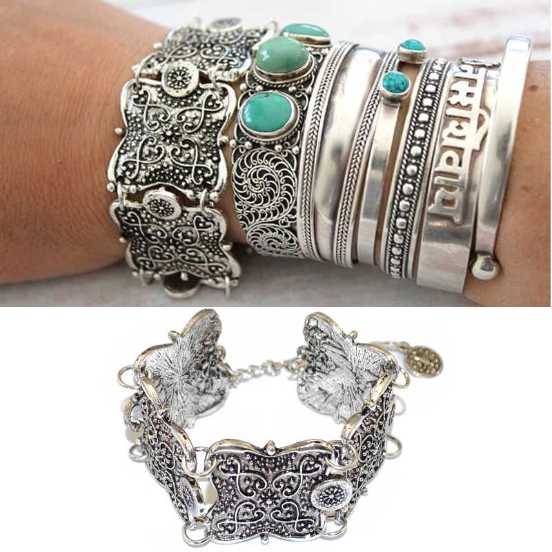 Gypsy Ethnic Square Flower Metal Carved Wide Bangles Tibetan Silver Plated Coin Adjustable Bracelet Fashion Bangle Cuff Women