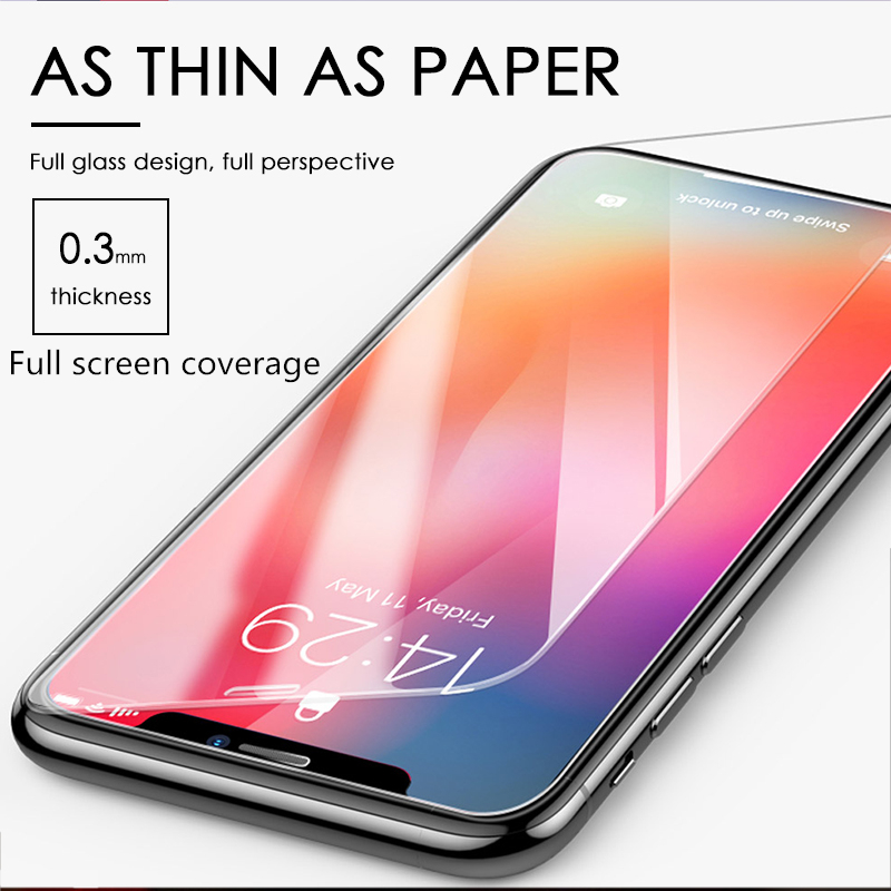 6PCS Full Cover Tempered glass on For iPhone 11 Pro Max iPhone X XR XSMax Screen Protector For iPhone 7 8 5 6 6S PLUS Glass Film image