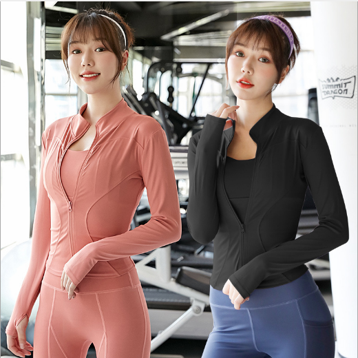 Women Athletic Sport Shirts Slim Fit Long Sleeved Fitness Coat Yoga Crop Tops With Thumb Holes Gym Jacket Workout Sweatshirts Jackets  - AliExpress