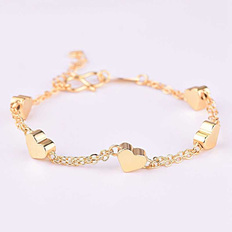 Women Baby Girls Bracelets Gold Color Heart-shaped Lucky Beaded  Chain Fashion Jewelry Gifts