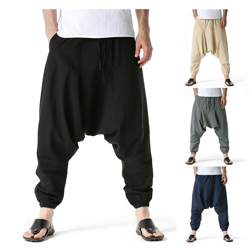 2021  plus size  style cotton and linen casual pants big crotch pants hanging crotch pants wide leg pants men