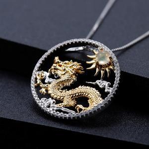Image 3 - Gems Ballet Natuurlijke Afrikaanse Opaal Edelsteen Chinese Zodiac Sieraden 925 Sterling Zilveren Vliegende Draak Hanger Ketting Voor Vrouwen