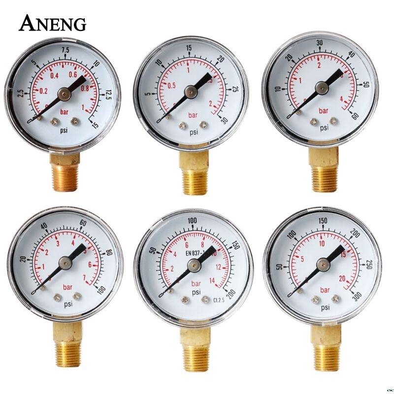 """Precisión clase 2.5% manómetro 40mm DIAL presión 1/8 """"BSPT Vertical 15,30, 60.100, 160 200, 300 PSI y Bar"""