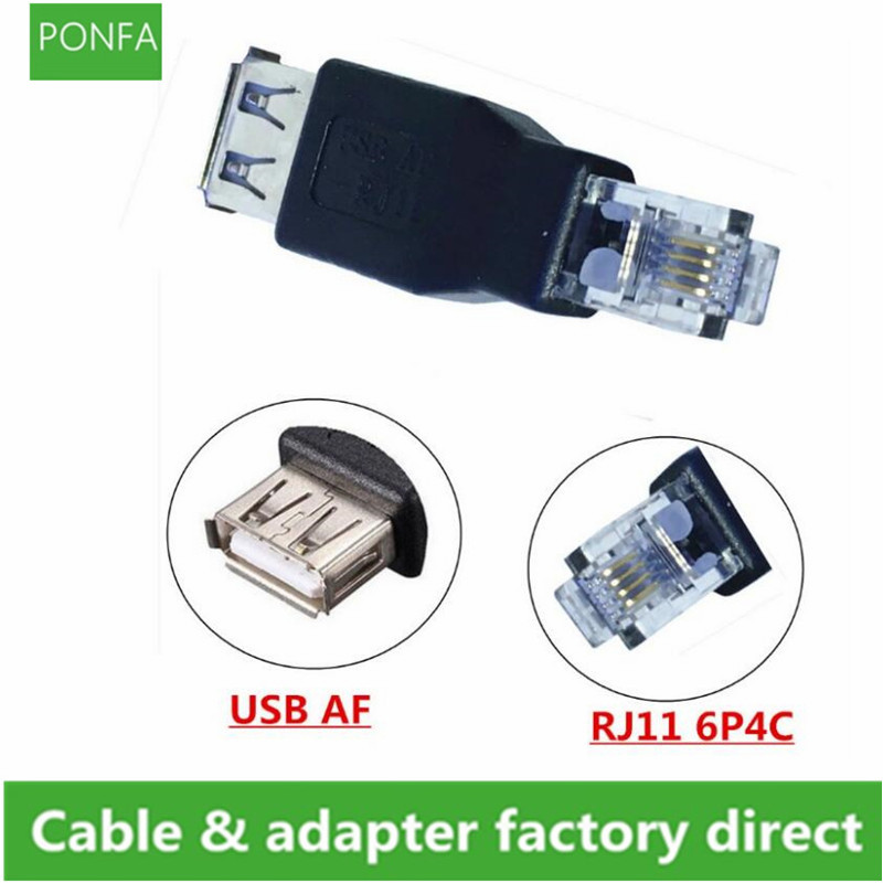 USB 2.0 A Female To RJ11 4Pin 6P4C Male Ethernet Network Phone Connector Adapter