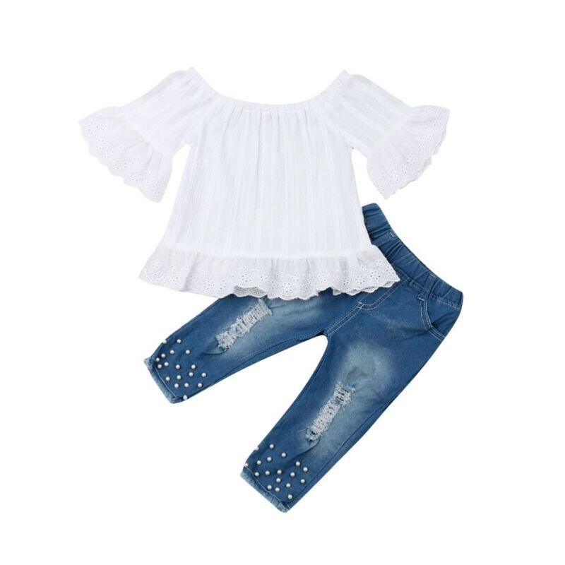 Одежда для маленьких девочек топы с оборками и открытыми плечами, джинсовые штаны комплект одежды из 2 предметов, модная одежда для детей во...