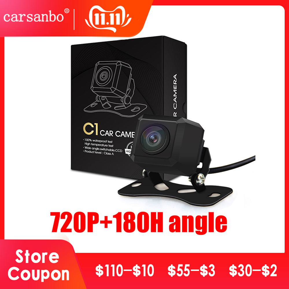 Carsanbo 180 Degree Horizontal Wide Angle 720P HD IP68 Waterproof Fish eye Lens Car Rear View and  Front View switch Camera